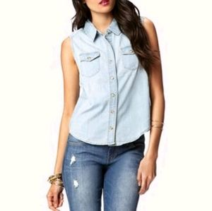 LIFE IN PROCESS Blue Denim Collared Sleeveless Top